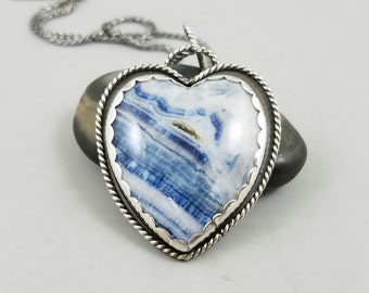 Lapis lace and argentium silver heart necklace