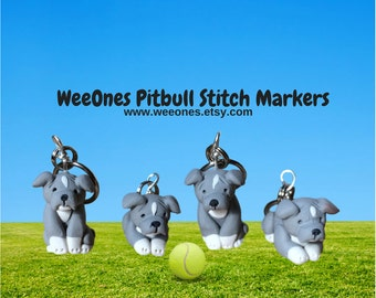 Pitbull Dog Polymer Clay Stitch Markers set of 4 Miniature Sculpted Animal Puppy Knit, Crochet Accessories