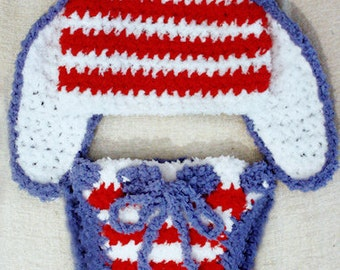 3 to 6m USA Baby Bunny Hat Pom Pom Diaper Cover Costume, Red White Blue Bunny Ears Crochet Baby Hat, Patriotic Stars Stripes Baby Photo Prop
