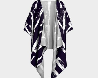 Ink Stamp Pattern Draped Kimono, wrap, gift for her, Canadian made