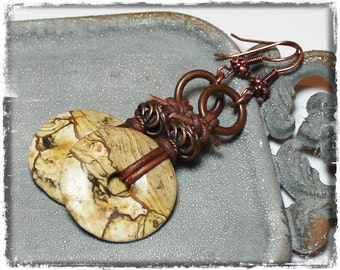 Desert Sands... Handmade Jewelry Earrings Picture Jasper Gemstone Leather Mocha Brown Bronze Antique Copper Mixed Media Earthy Artisan Boho