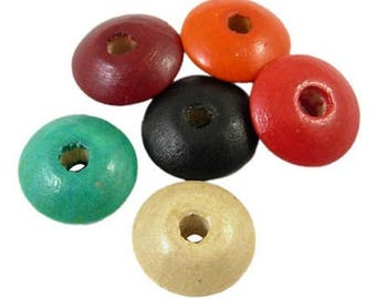 100 MULTICOLORED WOODEN FLAT ROUND BEADS MIX 5 MM NEW