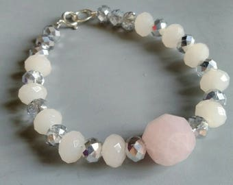 Rose quartz and silver coated faceted glass bead bracelet with sterling silver fastening. Ooak. Secret Santa. Stocking filler stuffer.