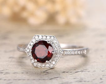 VS Natural Garnet Engagement Ring 14K White Gold Red Garnet Ring Diamond Wedding Band 6mm Round Garnet Bridal Ring Promise Ring Wedding Ring