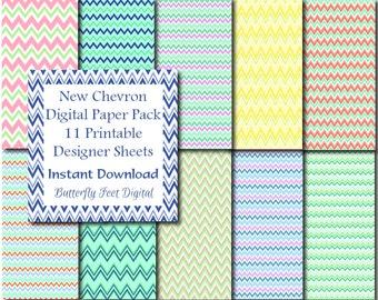 Chevron Digital Paper Pack, 11 Printable Designs, Scrapbooking, Card Making, Instant Download