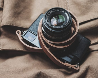 "42"" (106cm) Hand made Tan Leather Camera Strap 