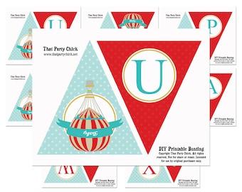 "Hot Air Balloon Birthday Banner Printable - ""Up Up and Away"" Banner - Vintage Hot Air Balloon Collection"