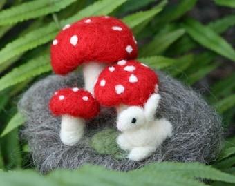 Mushroom and Bunny Needle Felted Forest Scene Custom