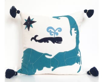 Cape Cod Map & Spouting Whale Pillow in Teal and Navy Felt Applique on Creamy White Cotton Twill
