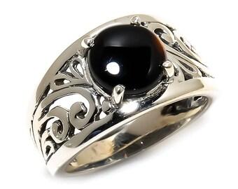 Natural Black Onyx Round Gemstone Ring 925 Sterling Silver R930