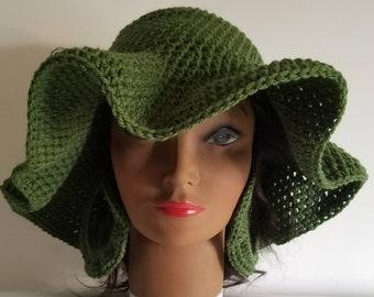 Crochet floppy sun hat with brim and Earrings 70s style  Summer Hat Boho chic cap Hippie brimmed hat loc hat dreadlocks cap