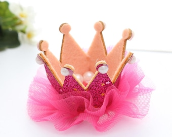 hair Crown Princess pink glitter tulle and pearls rhinestones