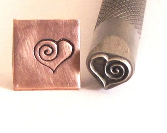 Big Sassy Heart Spiral 8mm x 7mm  knurled shank, for stainless steel copper brass aluminum sterling
