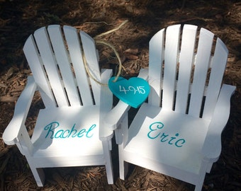 The ORIGINAL Set of 2 Cake Topper Wedding Decor Mini Adirondack Chair  Beach Lake Rustic  Personalized  Any Color with heart