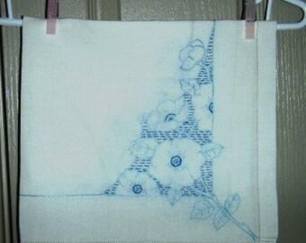 vintage linen ... square BLUE FLORAL handworked tea cloth ...