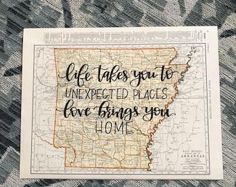 Arizona & Arkansas | personalized calligraphy map | original vintage map | calligraphy map | custom calligraphy map