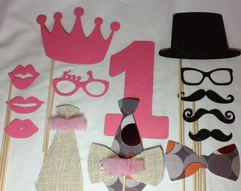 First Birthday  Mustache and Tutu Birthday Party Photo Props Little Man Choose Your Age