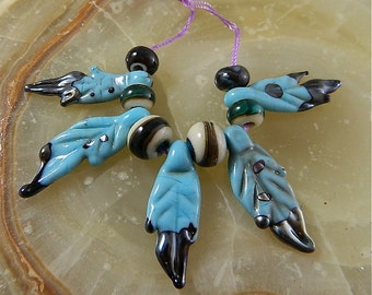 Lampwork Eagle Feather Bead Set: Turquoise Eagle Feathers