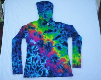 Womens Thermal V Neck Hoodie Tie Dye Choose Size S - 2X