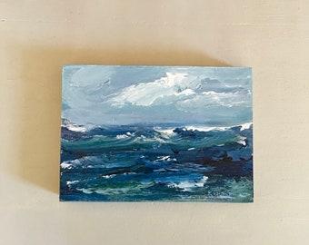 5 x 7  Ocean Painting -Original - Beach Art - Cradled Gesso Panel - 3/4 inch natural wood edge- Ready to Hang