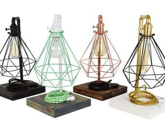 Table Lamp - Custom Industrial Table Lighting Industrial Pipe Lamp Antique Edison Modern Industrial Table Lamp