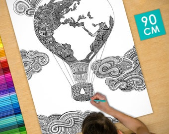 Poster / Poster deco coloring (90cm) world ' golfiere - coloring for adults