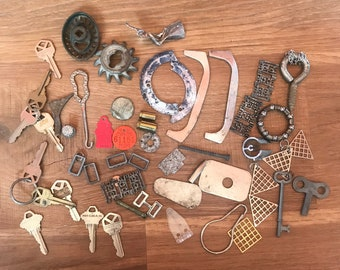 Found Objects- Metal Destash- Steampunk- Rusty Metal- Jewelry Making Supplies- Lot of Keys- Old Faucets- Scrap Metal- Vintage Findings