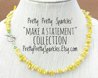 Yellow Coral Statement Necklace / Yellow necklace / Bold necklace / Coral necklace / Bold accessories / Yellow statement necklace