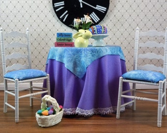 Dollhouse Miniature furniture in twelfth scale or 1:12 scale.  Skirted Easter table with 2 chairs. Item #133.