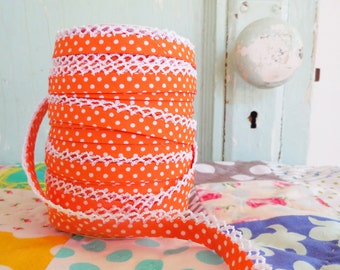 Orange Polka Dot Crochet Edge Double Fold Bias Tape (No. 5)