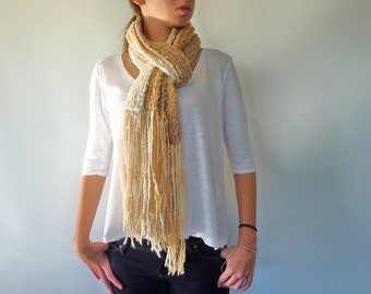 Oatmeal knit fringe scarf. Handmade neck warmer with fringes. Women's fashion accessories. Winter scarves for her. Woodland rustic scarf