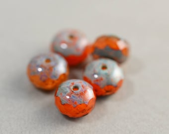 Orange Aqua Beads, Czech Glass, 8mm Picasso Beads, Five