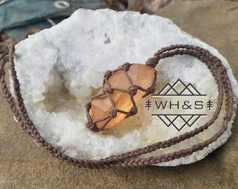 Tangerine Quartz Point Hemp Necklace, Raw Tangerine Quartz Jewelry, Healing Crystal Jewelry, Healing Crystal Necklace, Mineral Necklace