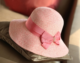 Summer along the bowknot wide straw hat the outdoor sun beach hat shading
