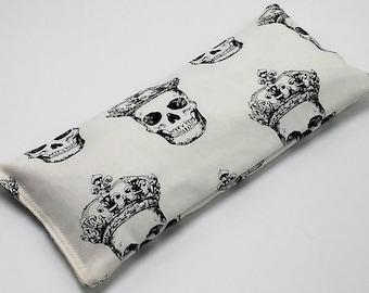 Crowned Skulls Eye Bag, Mens Eye Pillow, Best Friend Gift, Aromatherapy Gift, Lavender Eye Pillow, Sleep Mask, Gift for Him, Skull Print Bag