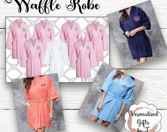 8 Personalized Bridesmaid Robe Set of 8 ,Monogrammed Robes, Waffle Robe, Personalized Bridesmaids Gifts