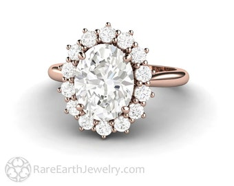 Oval Halo Engagement Ring Moissanite Ring Cluster Forever One Moissanite Ring Charles and Colvard Conflict Free