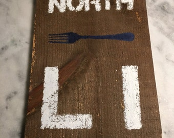 North Fork Long Island sign on reclaimed wood
