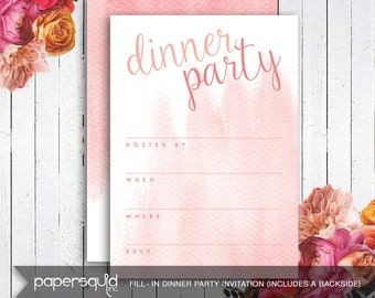 DIY Dinner Party Fill-In Invitaiton, Watercolor Coral Pink & Orange - Digital Printable File Instant Download - Item 170 by paper squid