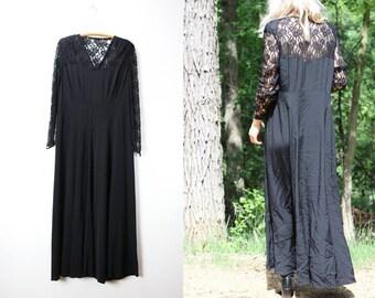 Vintage Black Lace Dress Long Sleeve Empire Waist Maxi Dress Medium