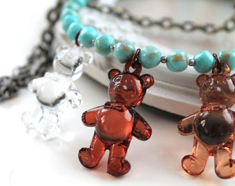 Necklace 3 Little bears ethnic style kawaii  original choker cute harajuku