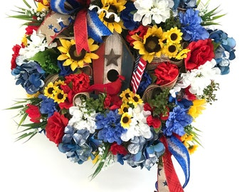 4th of July Birdhouse Wreath, USA Wreath, American Wreath, Patriotic birdhouse wreath, Rustic wreath, Farmhouse patriotic wreath, USA Decor