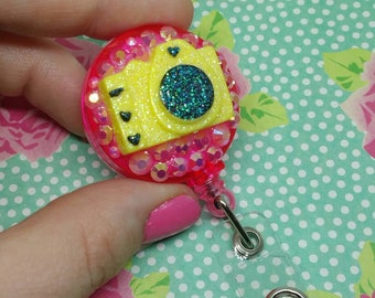 Yellow and Pink Camera Retractable Badge Holder