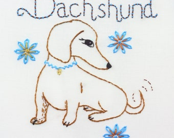 Dachshund Embroidery Design Doxie Pattern Hand Embroidery Wiener Dog Sausage dog design instant download pdf