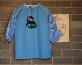Kids art smock Back to school kids art smock, long sleeve waterproof front craft apron. Fits age 5 to 8. Blue, stripe, tipper trucks
