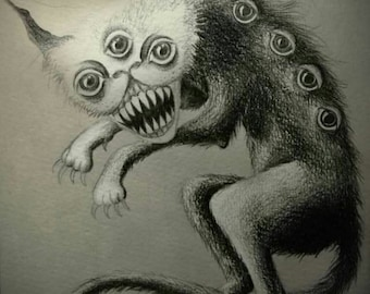 Original drawing - creepy cat, horror, halloween, gothic, macabre, dark art, victorian