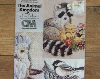 vintage 1977 Animal Kingdom traceable crewel and needlepoint designs Erica Wilson please read description