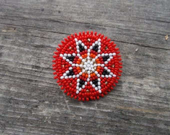 beaded morningstar pin, native american beadwork