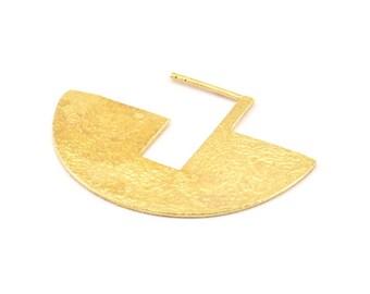 Geometric Earring Findings, 2 Raw Brass Semi Circle Textured Earring Findings  (30x40x1mm) BS 1962