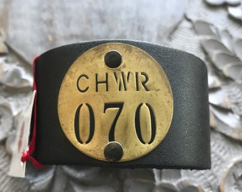 Leather Cuff - Vintage Brass Valve Tag - 070 - 1970 - Class of 1970 - 70th Birthday - 70